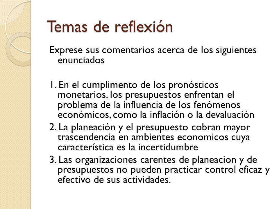 Temas de reflexión