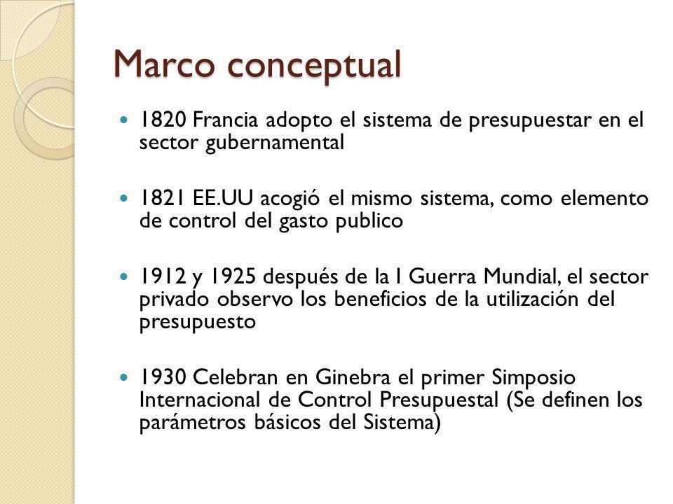 Marco conceptual 1820 Francia adopto el sistema de presupuestar en el sector gubernamental.