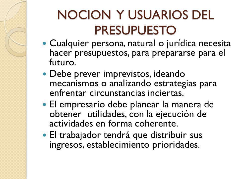 NOCION Y USUARIOS DEL PRESUPUESTO