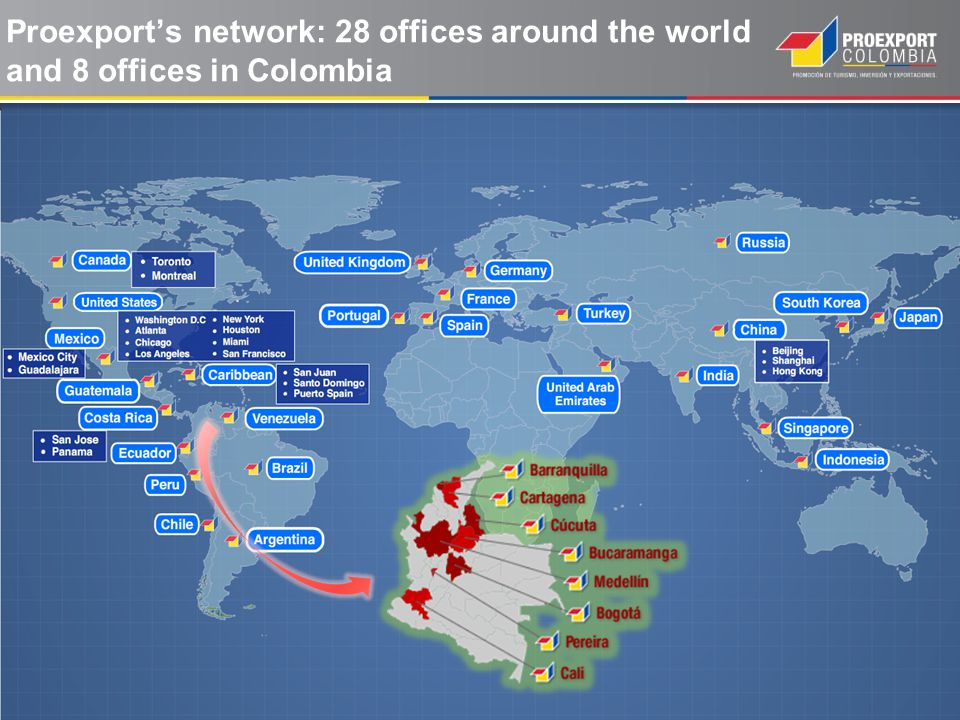 Proexport's network: 28 offices around the world and 8 offices in Colombia