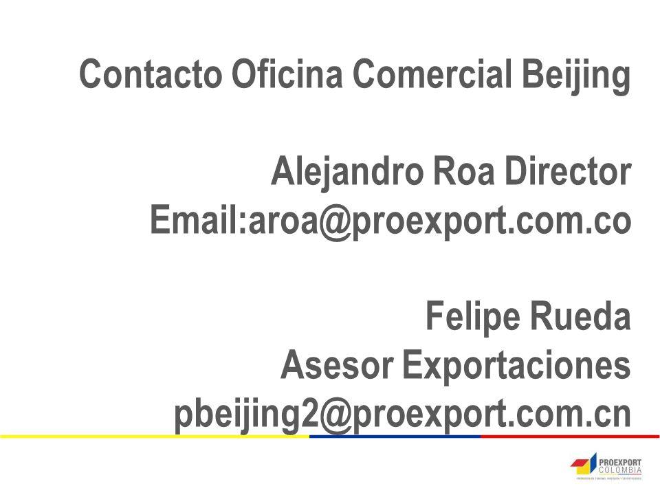 Contacto Oficina Comercial Beijing Alejandro Roa Director Email:aroa@proexport.com.co Felipe Rueda Asesor Exportaciones pbeijing2@proexport.com.cn