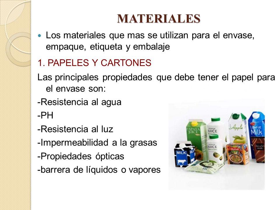 MATERIALES Los materiales que mas se utilizan para el envase, empaque, etiqueta y embalaje. 1. PAPELES Y CARTONES.
