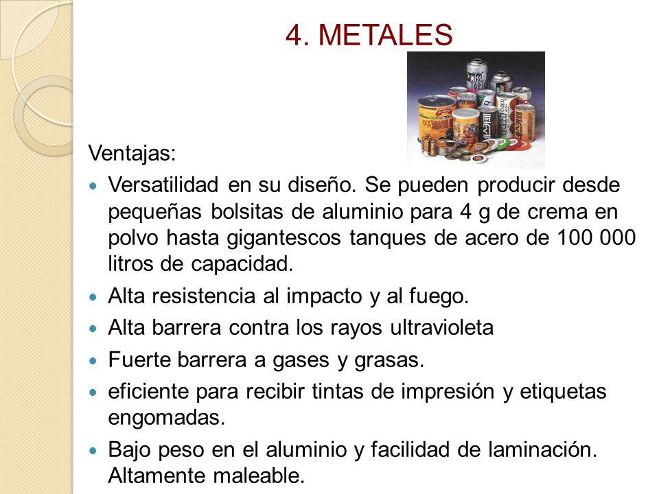 4. METALES Ventajas:
