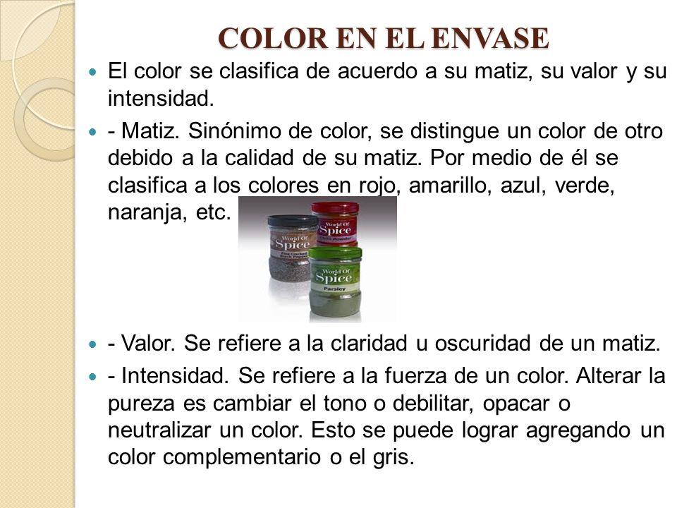 COLOR EN EL ENVASE El color se clasifica de acuerdo a su matiz, su valor y su intensidad.