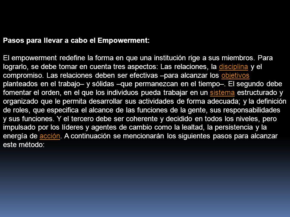 Pasos para llevar a cabo el Empowerment: