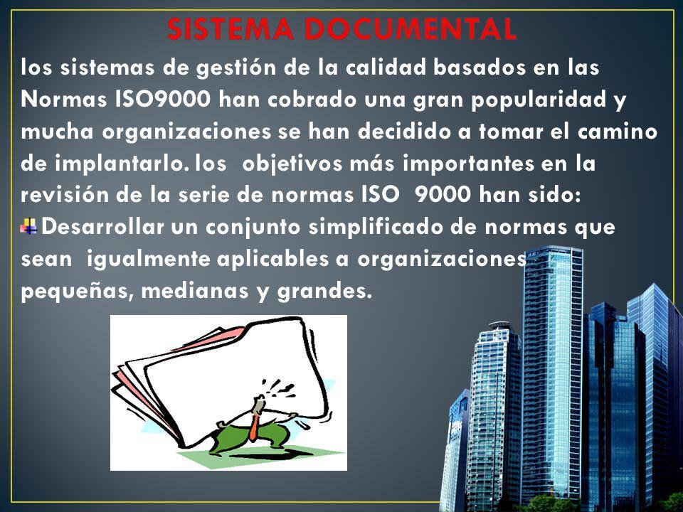 SISTEMA DOCUMENTAL los sistemas de gestión de la calidad basados en las. Normas ISO9000 han cobrado una gran popularidad y.