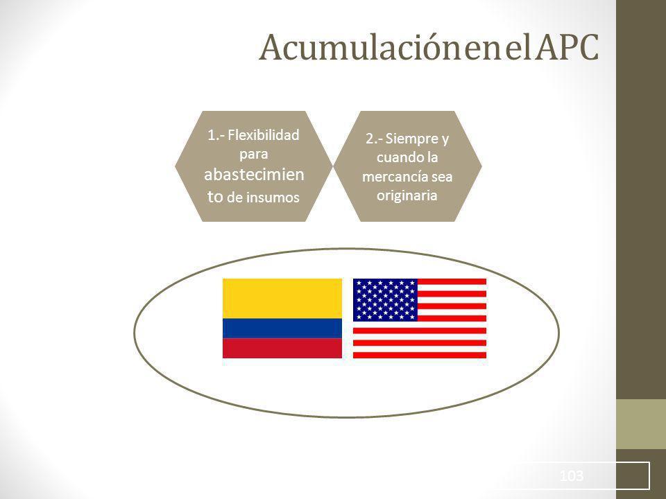 Acumulación en el APC 1.- Flexibilidad para abastecimiento de insumos