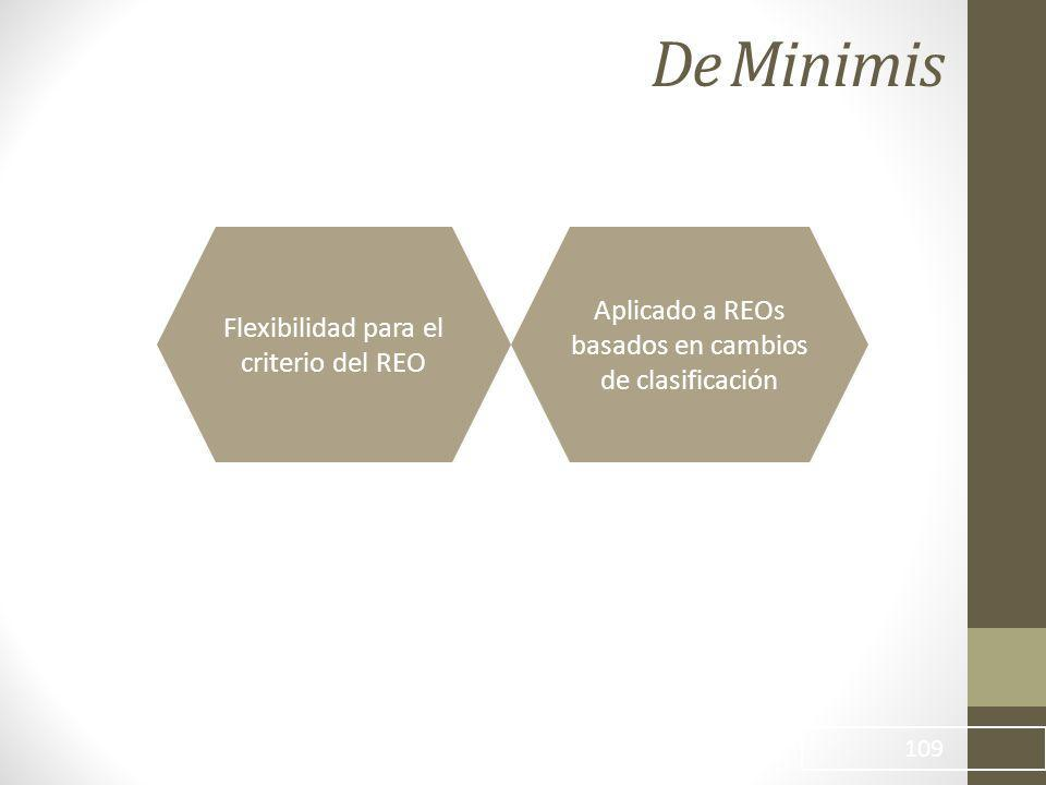 De Minimis Aplicado a REOs basados en cambios de clasificación