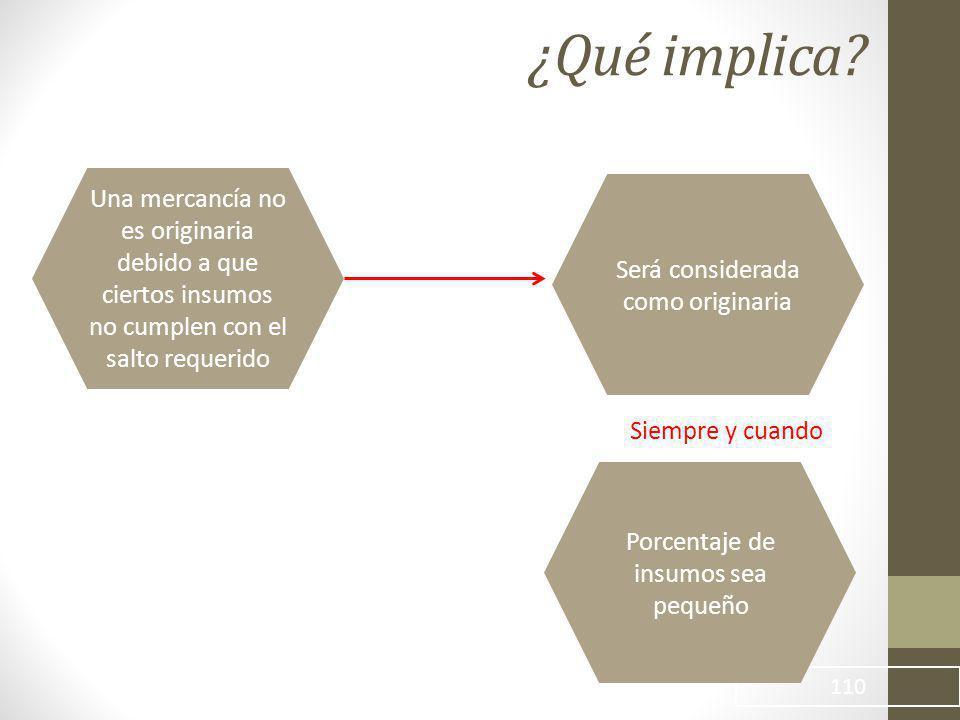 ¿Qué implica Una mercancía no es originaria debido a que ciertos insumos no cumplen con el salto requerido.