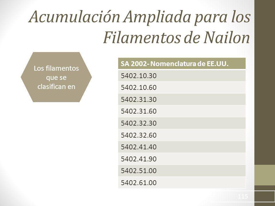 Acumulación Ampliada para los Filamentos de Nailon