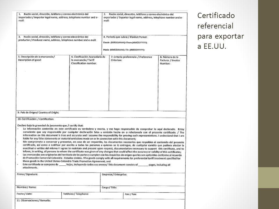 Certificado referencial para exportar a EE.UU.