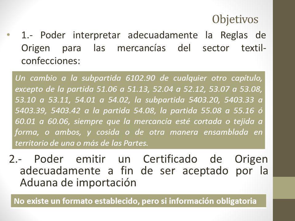 Objetivos 1.- Poder interpretar adecuadamente la Reglas de Origen para las mercancías del sector textil-confecciones: