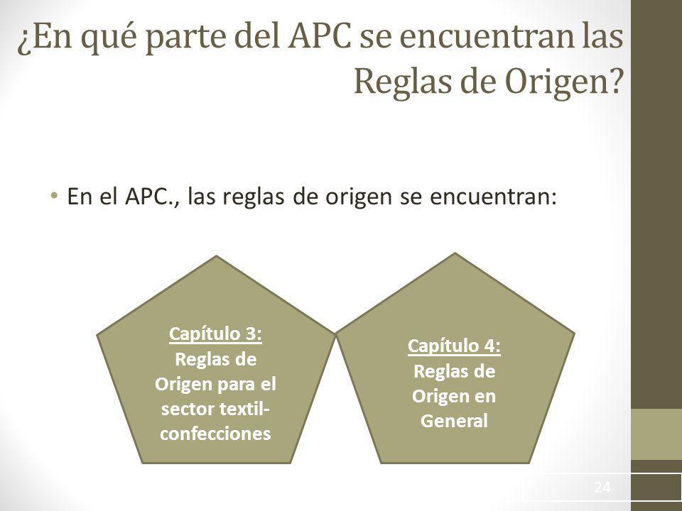 ¿En qué parte del APC se encuentran las Reglas de Origen