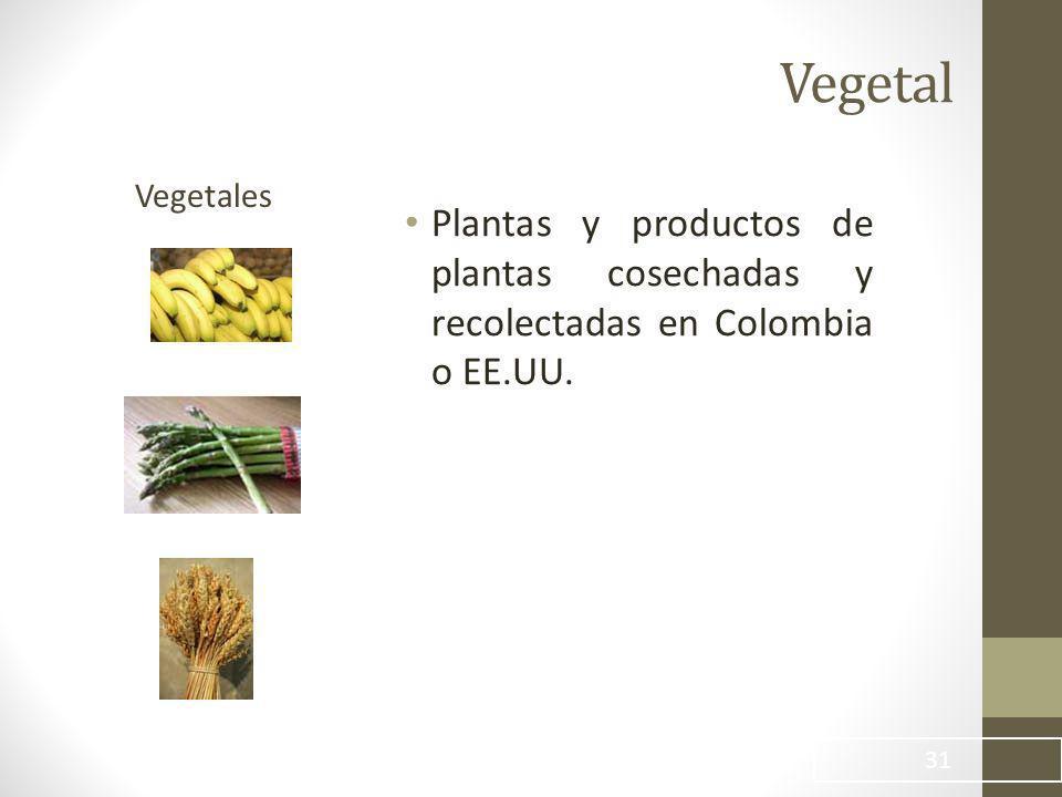 Vegetal Vegetales Plantas y productos de plantas cosechadas y recolectadas en Colombia o EE.UU.