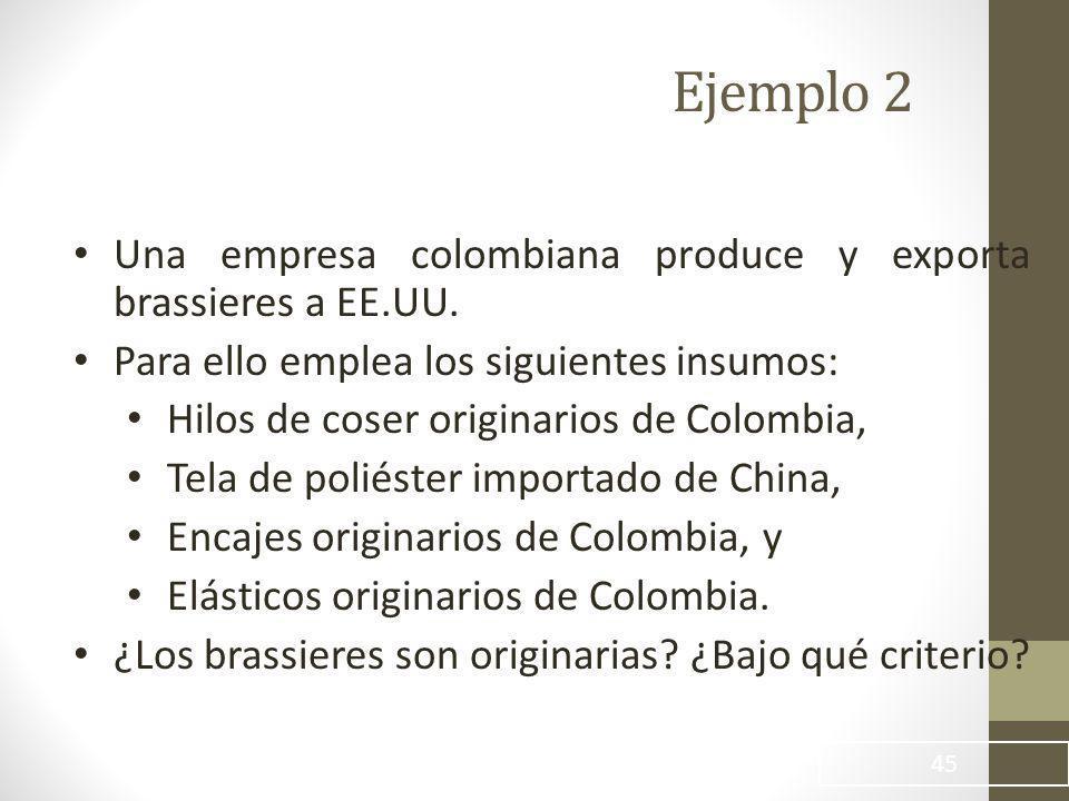Ejemplo 2 Una empresa colombiana produce y exporta brassieres a EE.UU.