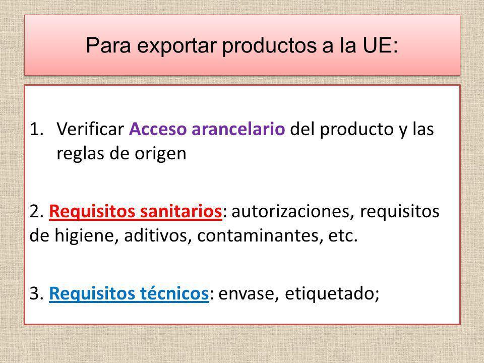 Para exportar productos a la UE: