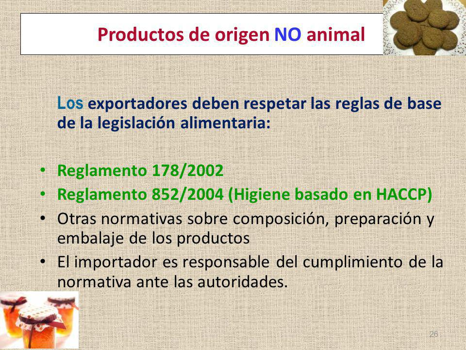 Productos de origen NO animal