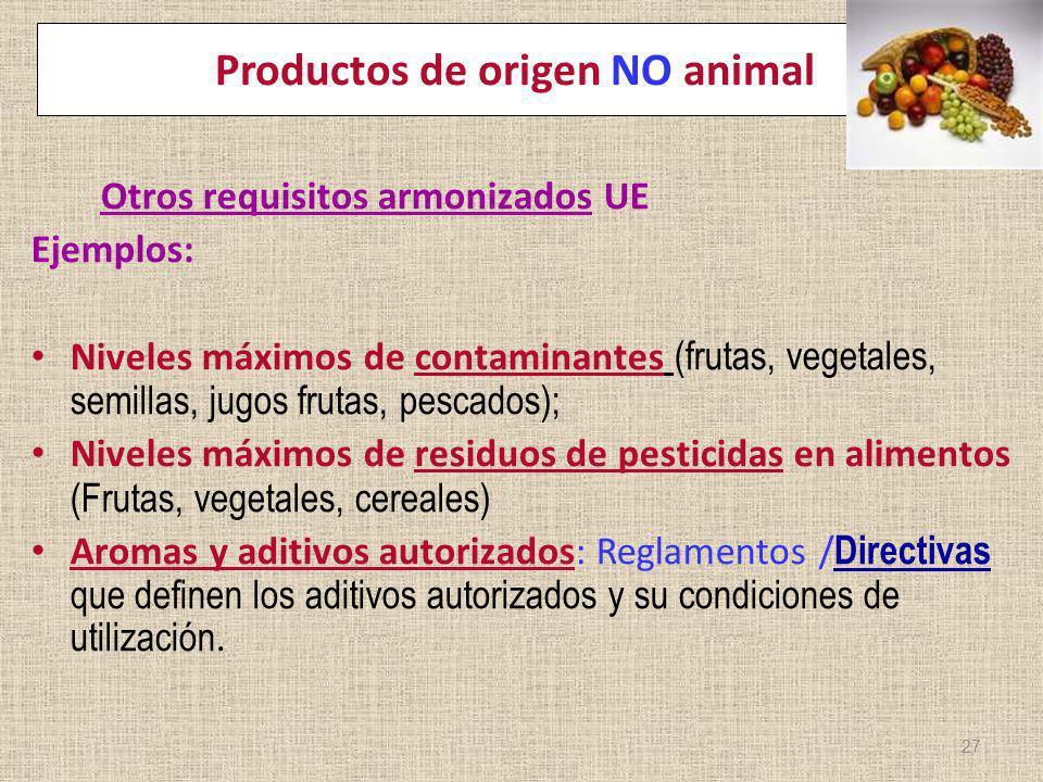 Productos de origen NO animal