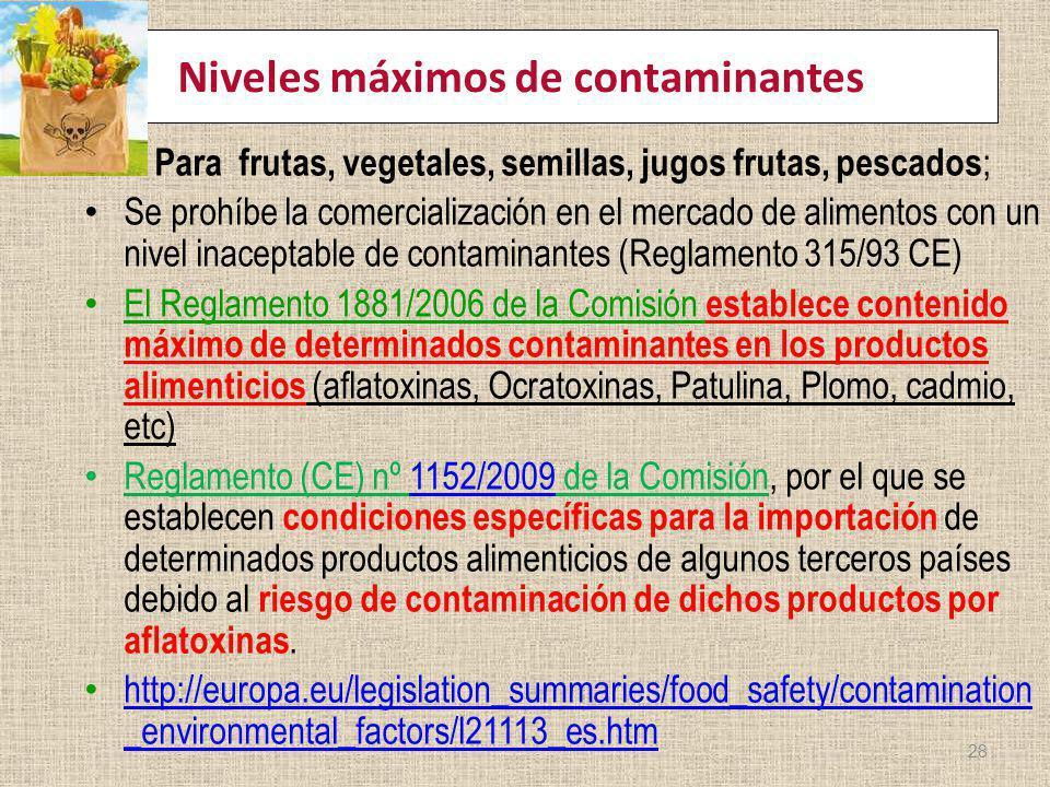 Niveles máximos de contaminantes