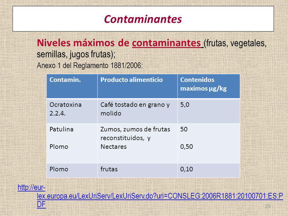 Contaminantes Niveles máximos de contaminantes (frutas, vegetales, semillas, jugos frutas); Anexo 1 del Reglamento 1881/2006: