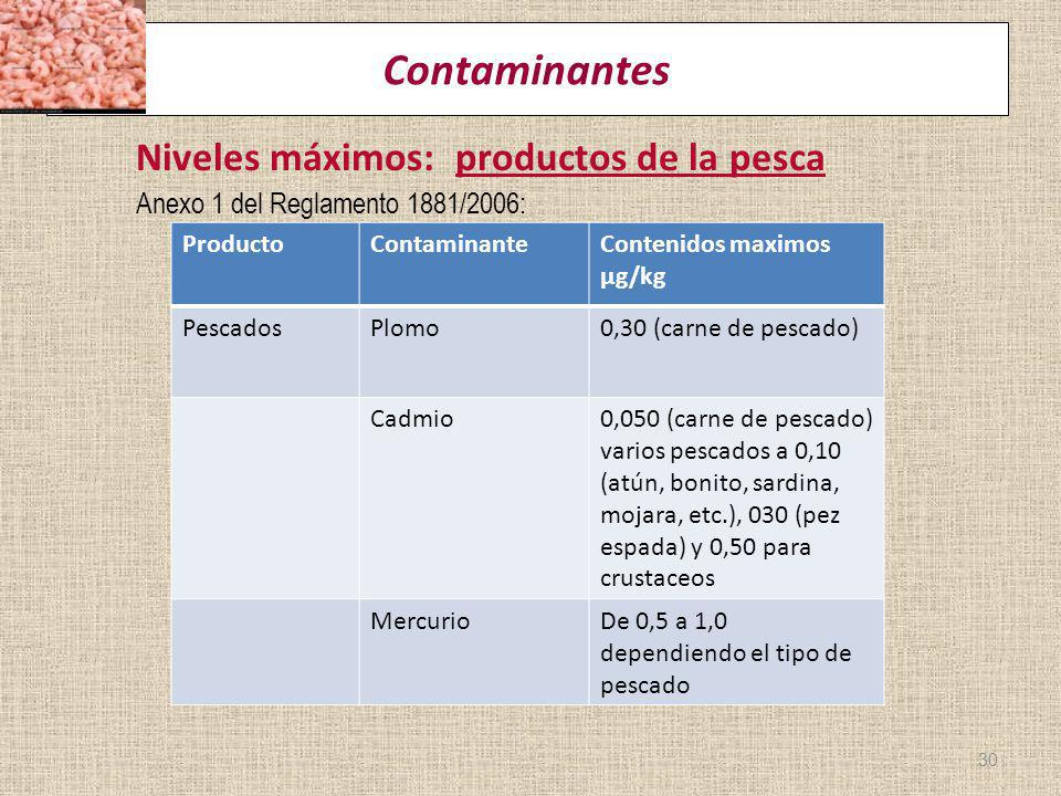 Contaminantes Niveles máximos: productos de la pesca