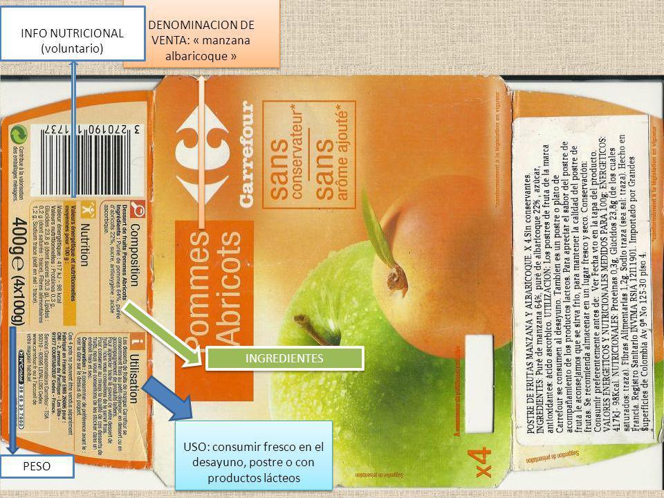 DENOMINACION DE VENTA: « manzana albaricoque »