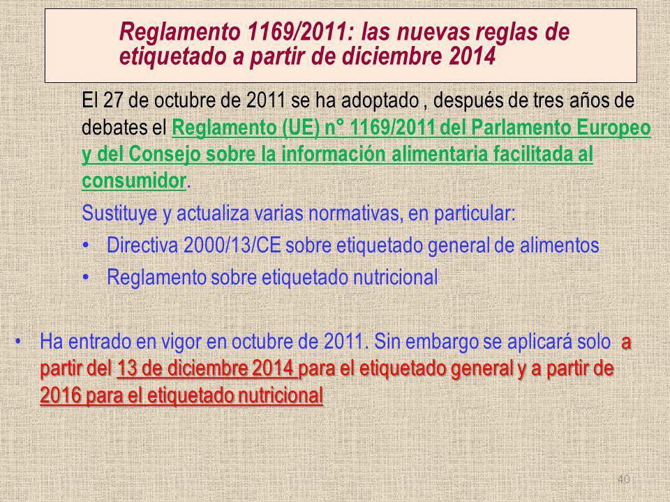 Reglamento 1169/2011: las nuevas reglas de etiquetado a partir de diciembre 2014