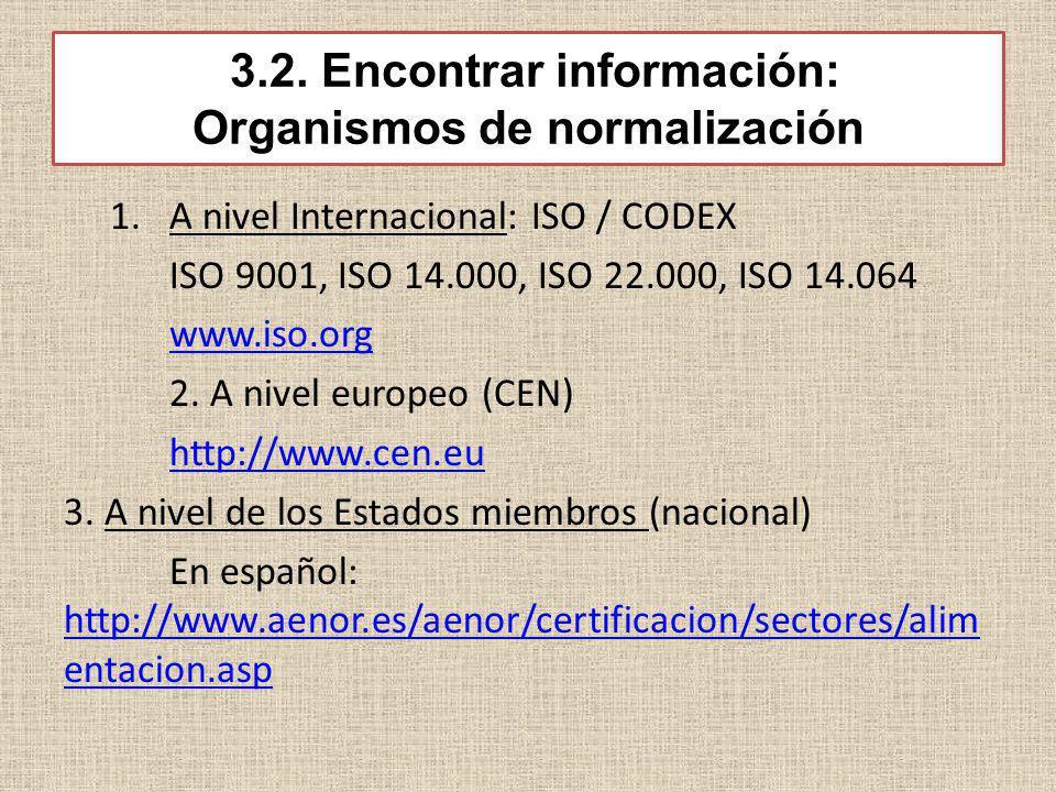 3.2. Encontrar información: Organismos de normalización