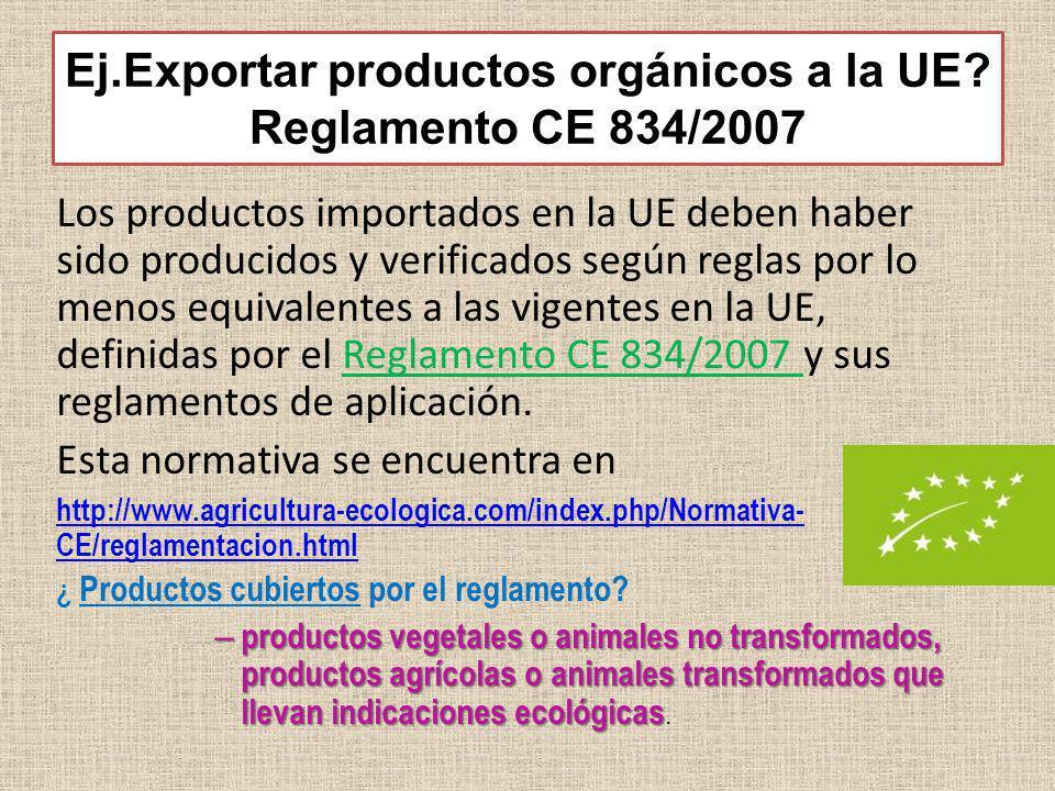 Ej.Exportar productos orgánicos a la UE Reglamento CE 834/2007