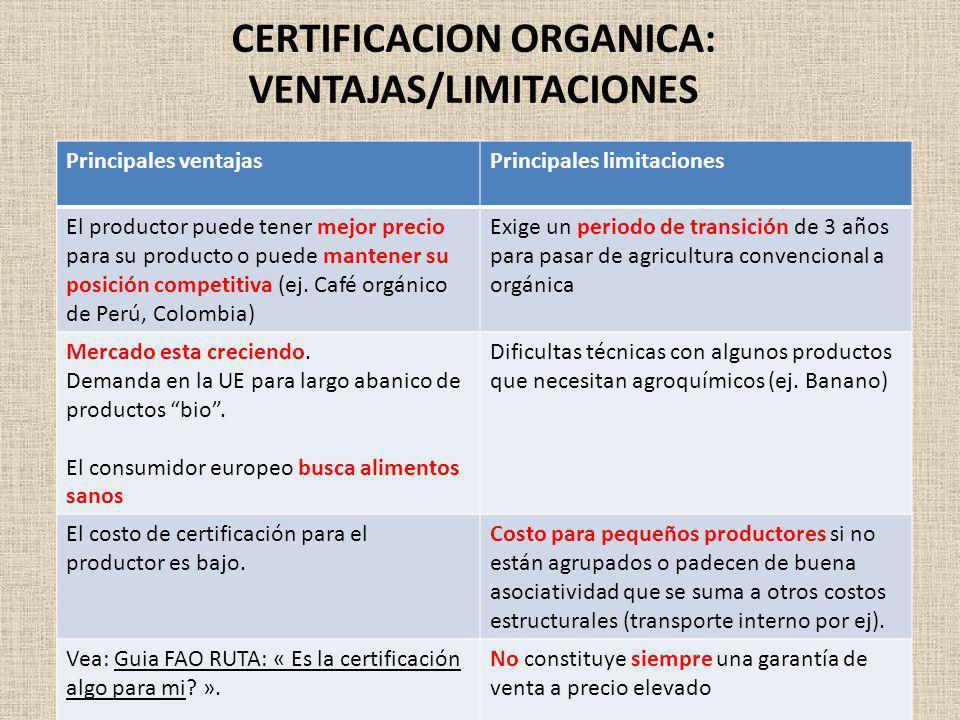 CERTIFICACION ORGANICA: VENTAJAS/LIMITACIONES
