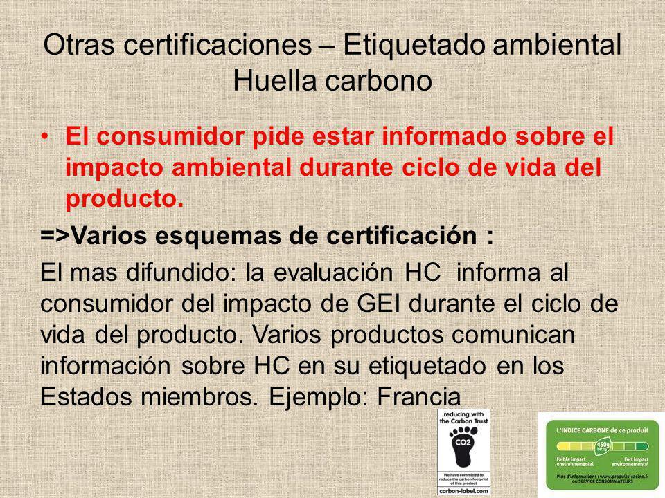 Otras certificaciones – Etiquetado ambiental Huella carbono