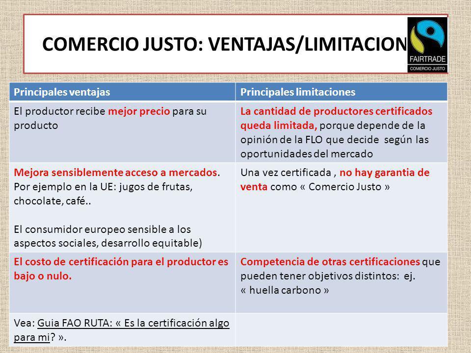 COMERCIO JUSTO: VENTAJAS/LIMITACIONES