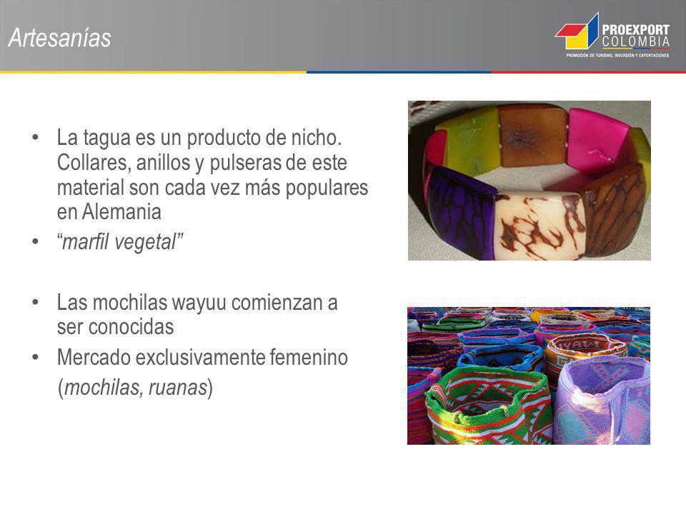 Artesanías La tagua es un producto de nicho. Collares, anillos y pulseras de este material son cada vez más populares en Alemania.
