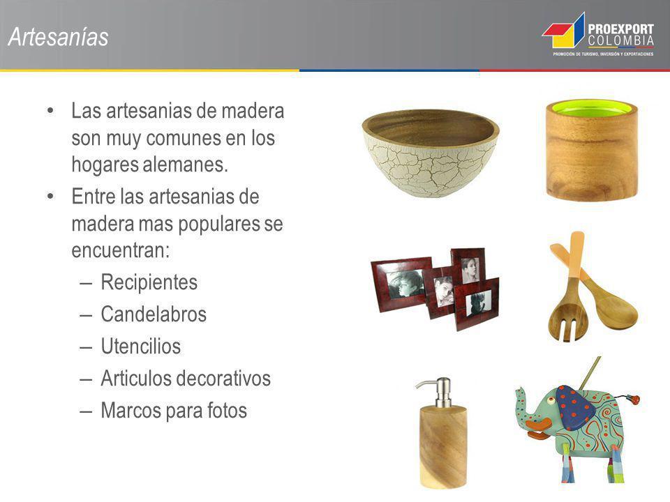 Artesanías Las artesanias de madera son muy comunes en los hogares alemanes. Entre las artesanias de madera mas populares se encuentran: