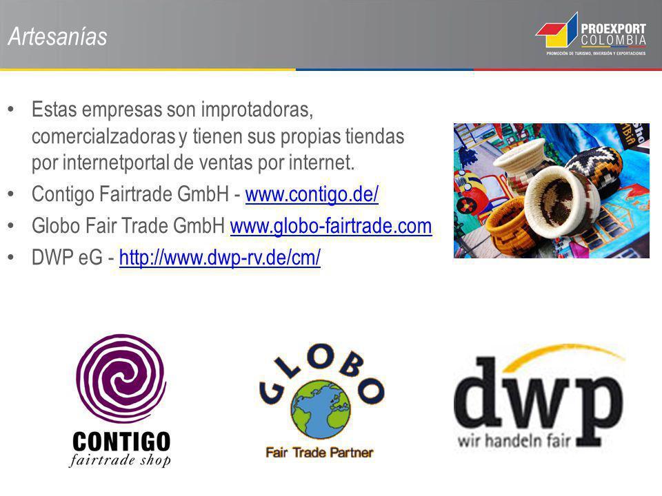 Artesanías Estas empresas son improtadoras, comercialzadoras y tienen sus propias tiendas por internetportal de ventas por internet.