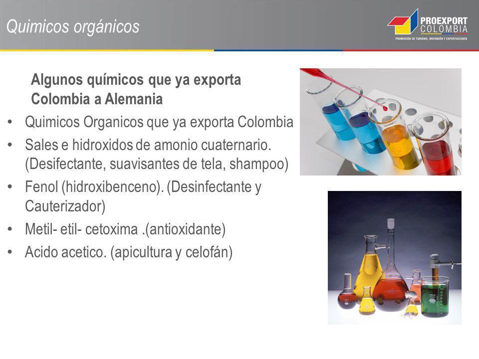 Quimicos orgánicos Algunos químicos que ya exporta Colombia a Alemania