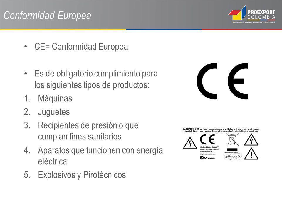 Conformidad Europea CE= Conformidad Europea