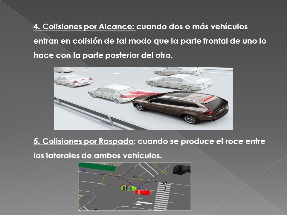 4. Colisiones por Alcance: cuando dos o más vehículos entran en colisión de tal modo que la parte frontal de uno lo hace con la parte posterior del otro.