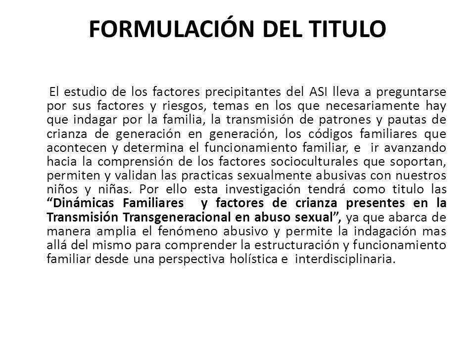 FORMULACIÓN DEL TITULO