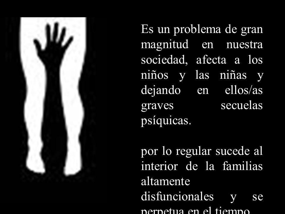 Es un problema de gran magnitud en nuestra sociedad, afecta a los niños y las niñas y dejando en ellos/as graves secuelas psíquicas.