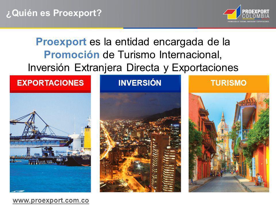 ¿Quién es Proexport Proexport es la entidad encargada de la Promoción de Turismo Internacional, Inversión Extranjera Directa y Exportaciones.