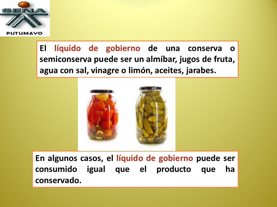 El líquido de gobierno de una conserva o semiconserva puede ser un almíbar, jugos de fruta, agua con sal, vinagre o limón, aceites, jarabes.