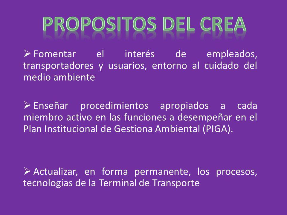 PROPOSITOS DEL CREA Fomentar el interés de empleados, transportadores y usuarios, entorno al cuidado del medio ambiente.