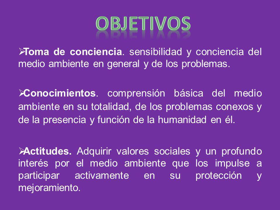 objetivos Toma de conciencia. sensibilidad y conciencia del medio ambiente en general y de los problemas.