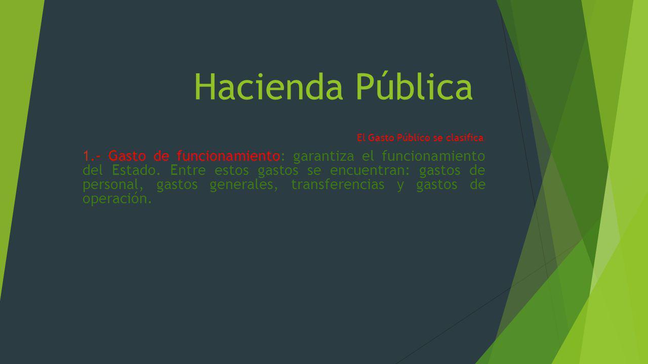 Hacienda Pública El Gasto Público se clasifica: