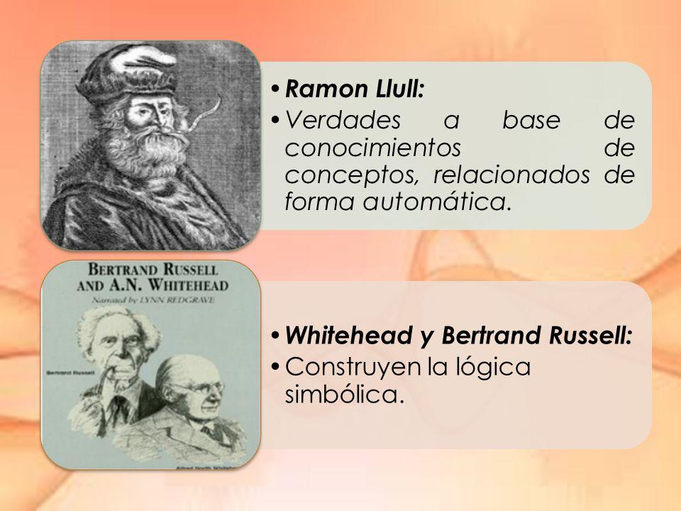 Ramon Llull: Verdades a base de conocimientos de conceptos, relacionados de forma automática. Whitehead y Bertrand Russell: