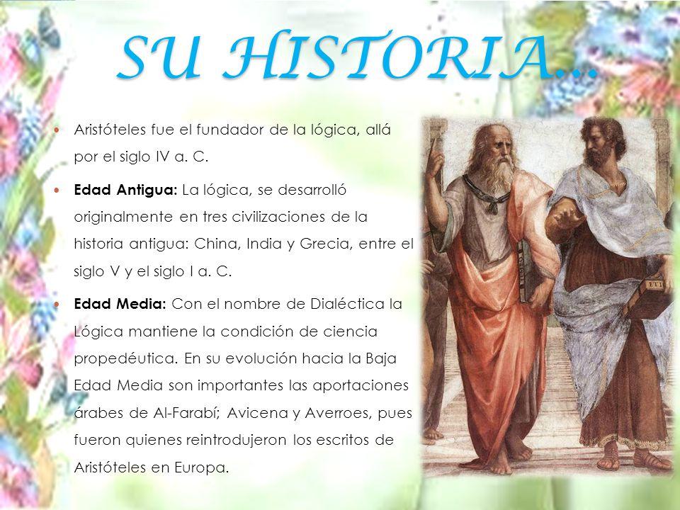 SU HISTORIA... Aristóteles fue el fundador de la lógica, allá por el siglo IV a. C.
