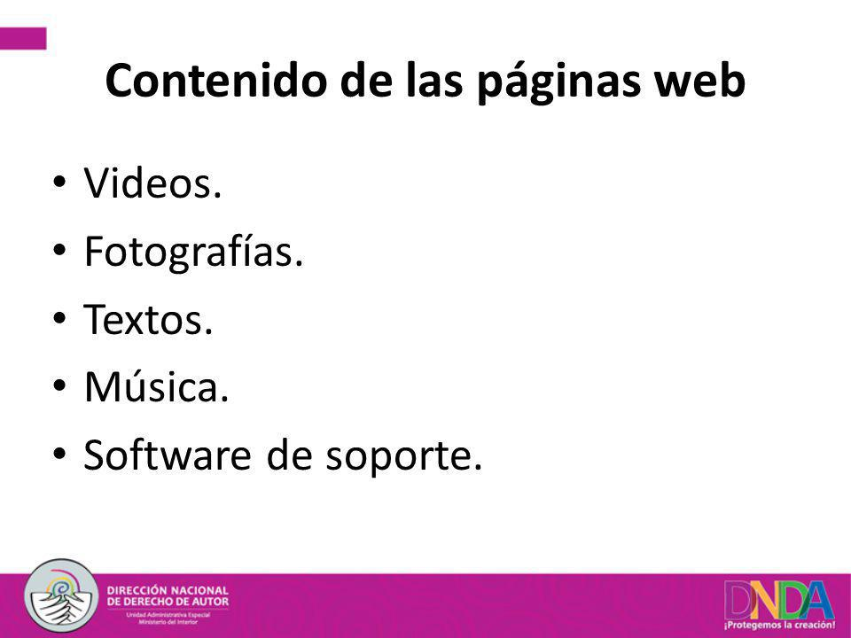 Contenido de las páginas web