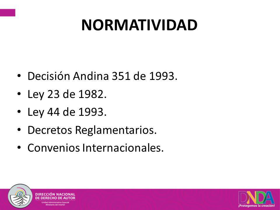 NORMATIVIDAD Decisión Andina 351 de 1993. Ley 23 de 1982.