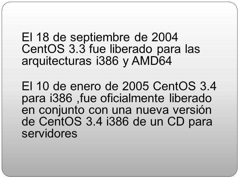 El 18 de septiembre de 2004 CentOS 3